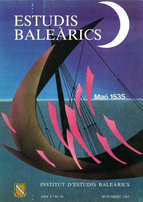 Estudis Baleàrics, núm. 18. Maó 1535