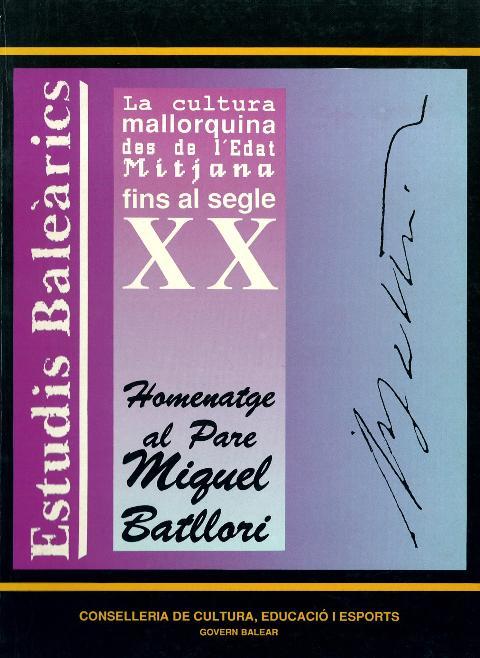 designer fashion 489fc 0ea79 Estudis Baleàrics, núm. 29 30. Homenatge al pare Miquel Batllori